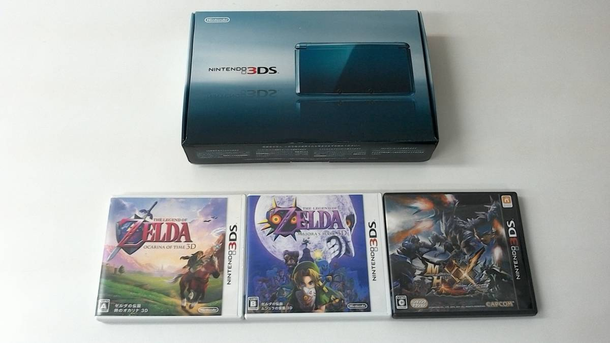 3DS本体 アクアブルー、ZELDA ゼルダの伝説 時のオカリナ、ムジュラの仮面