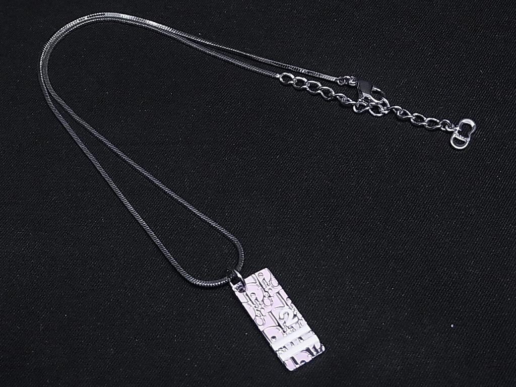 99e277aa3a 1円 □極美品□ Christian Dior クリスチャンディオール トロッター プレート ネックレス アクセサリー シルバー