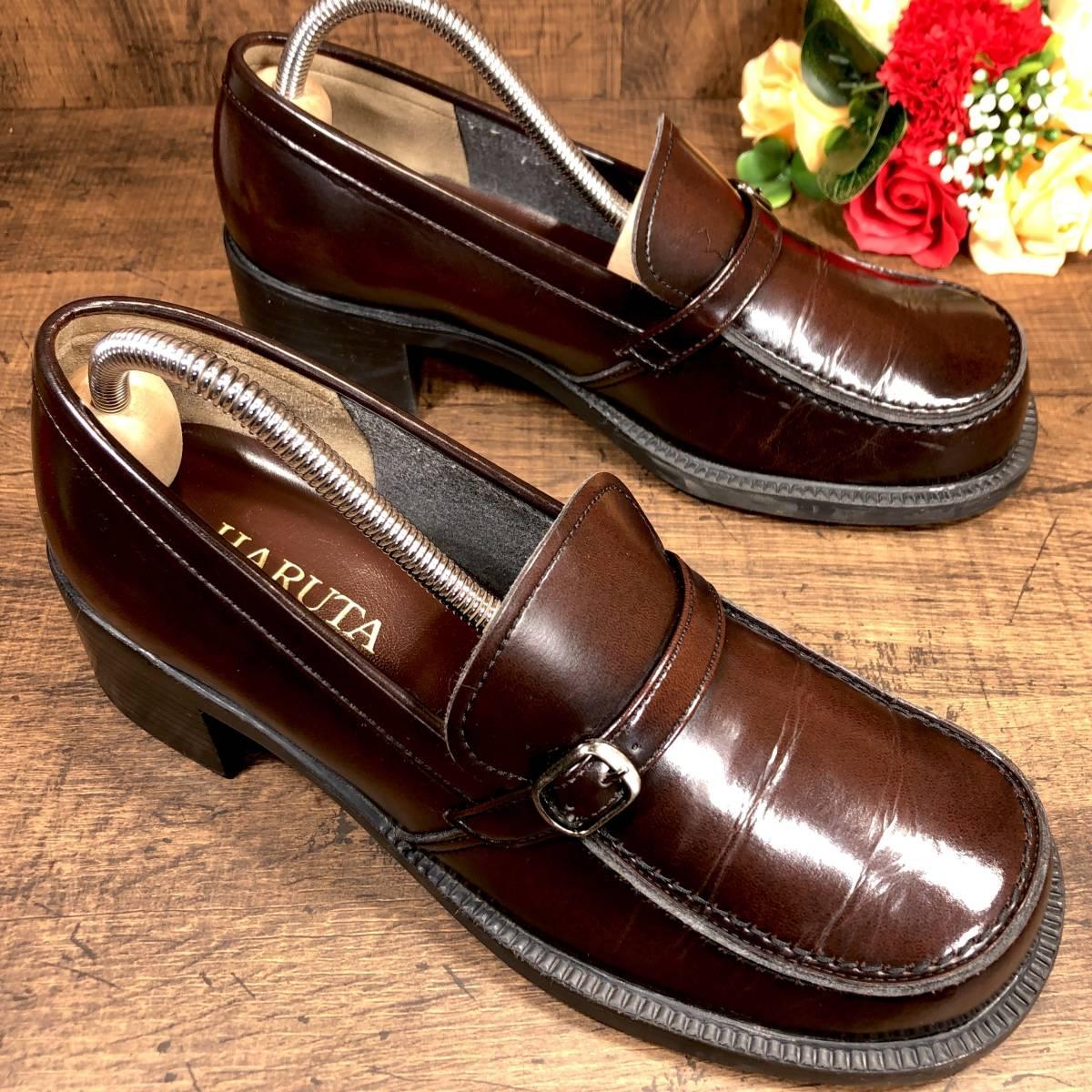 57bfd38e08b060 即決□HARUTA□ 23.5cm 茶 ブラウン ハルタ ローファー スリッポン ヒール ドレス レディース 革靴 靴