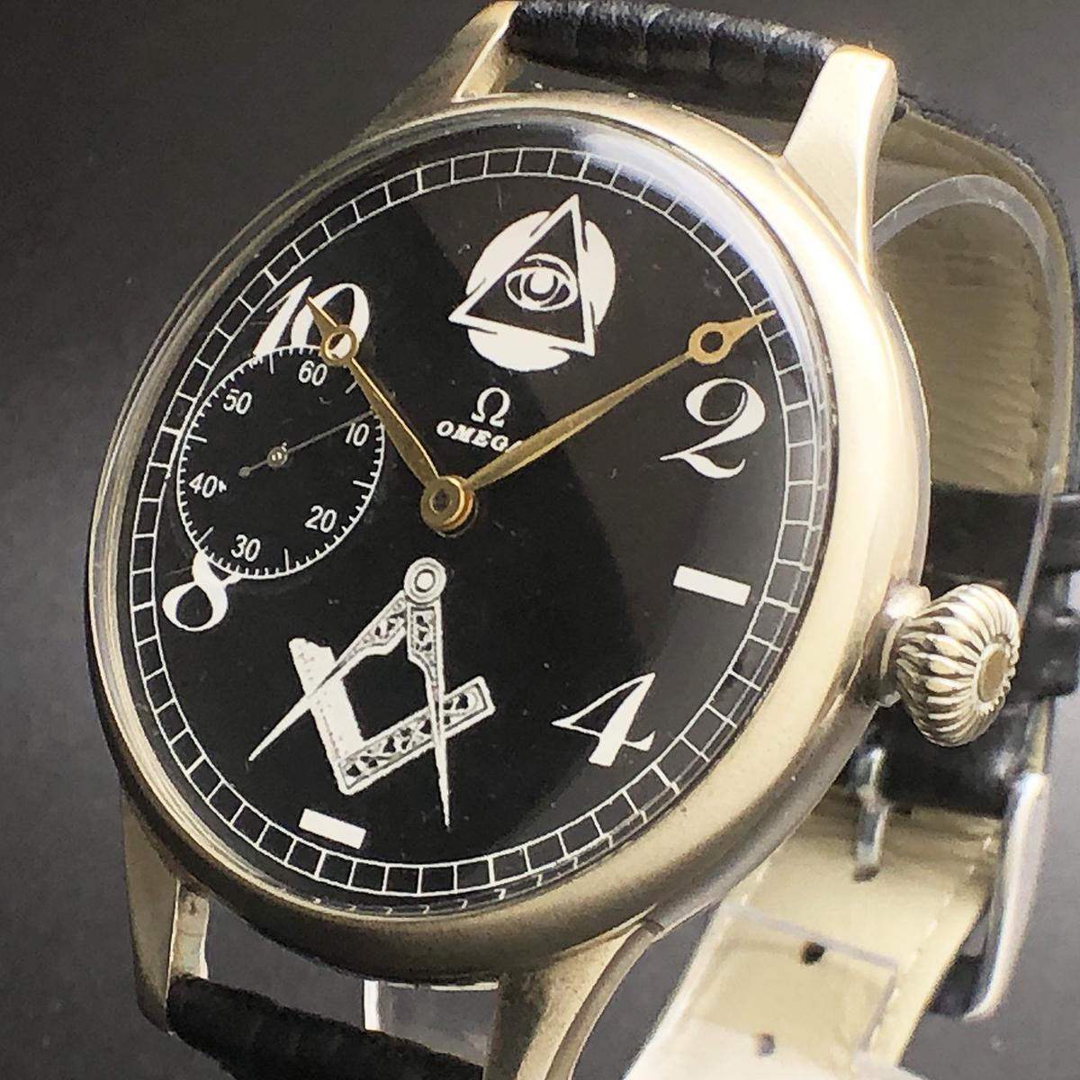 c4a333652a 激レア OMEGA オメガ フリーメイソン 1930s アンティーク メンズ 腕時計 大型 定規 コンパス 手巻