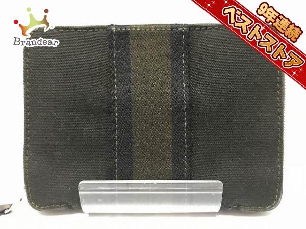 e037b4a047fc エルメス HERMES 財布 2つ折り財布 キャンバス 黒×カーキ ラウンドファスナー フールトゥパースPMの