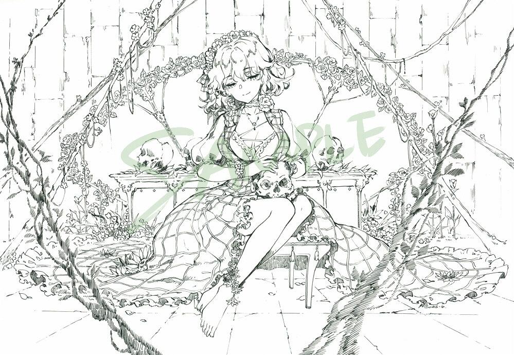 新品風見幽香 同人手描きイラスト 東方project A4 ペン線画 モノクロ