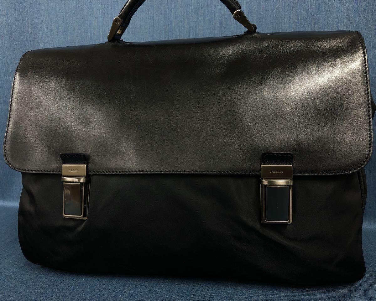 19346fe62df0 極美品 PRADA プラダ ナイロン レザー ビジネスバッグ ブラック メンズ バッグ ブリーフ 牛革 ハンドバッグ 109