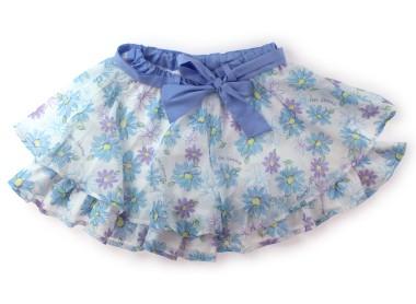 ba58cbead50d8 メゾピアノ mezzopiano キュロット 140 女の子 ブルー、白、水色、ラベンダー、花柄 子供