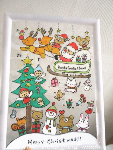 新品オーダーステンドグラス風a4サイズクリスマスアート
