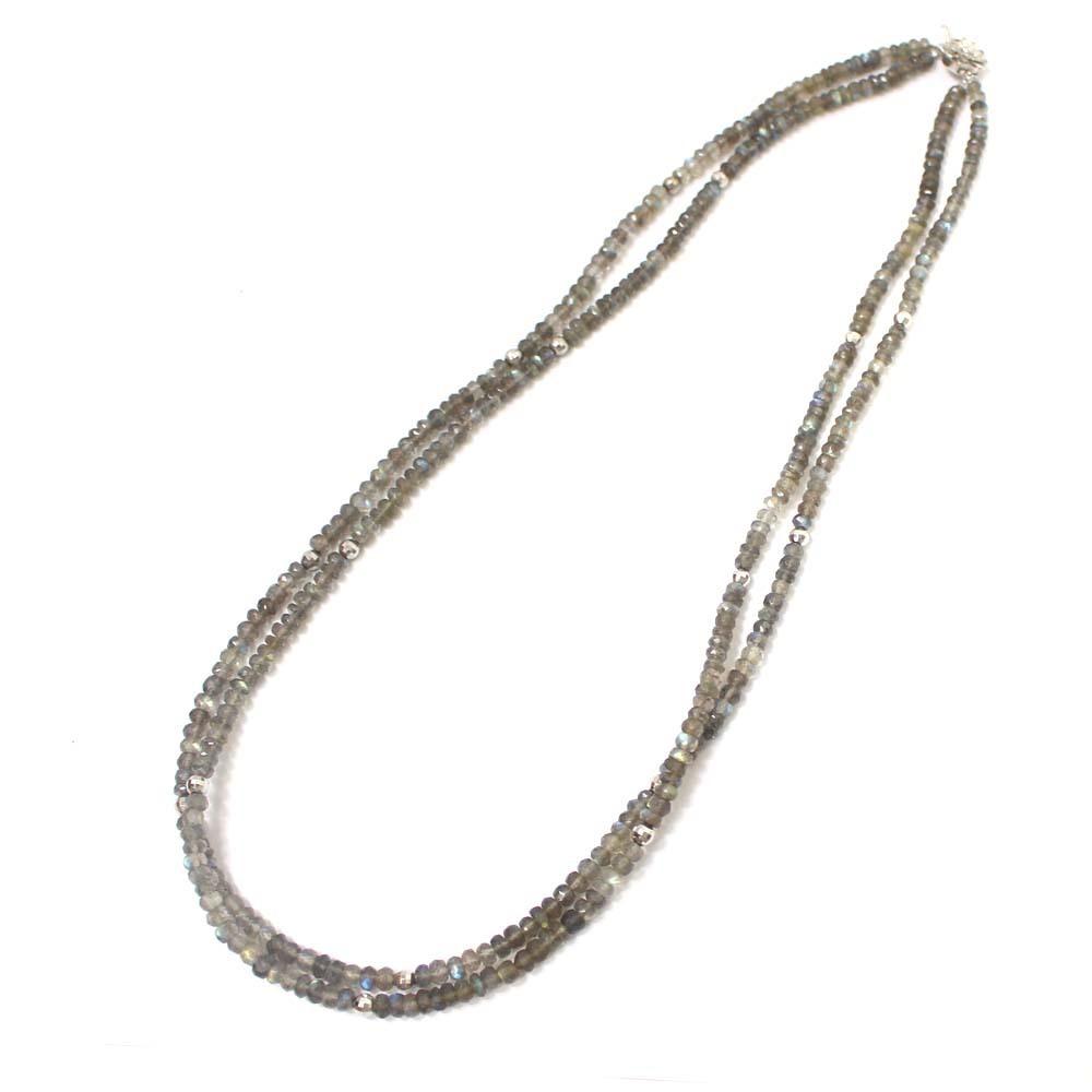 01467380048f 質流れ ノーブランド ラブラドライト 二連 ネックレス レディース 天然石 シルバー アクセサリー グレー シルバーの1番目
