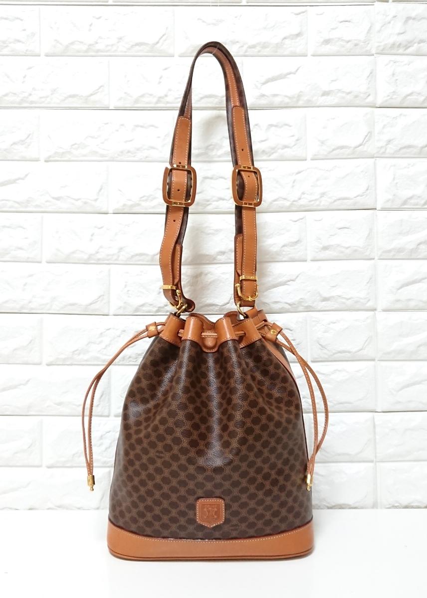 d04c5cc6f551 美品 ヴィンテージ セリーヌ マカダム 豪華 巾着 ショルダーバッグ OLD CELINE PARIS BAG MADE IN