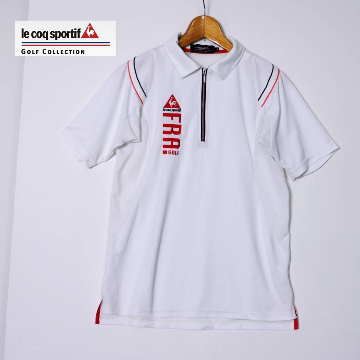 aea30a3dc567ae le coq sportif GOLF COLLECTION ルコック ゴルフ 半袖ポロシャツ ハーフジップ ロゴ刺繍 白の1