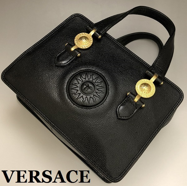 14ff51f49709 VERSACE ヴェルサーチ サンバースト 上質レザー ハンドバッグ スクエア バニティバッグ 黒×ゴールド 正規品 保証