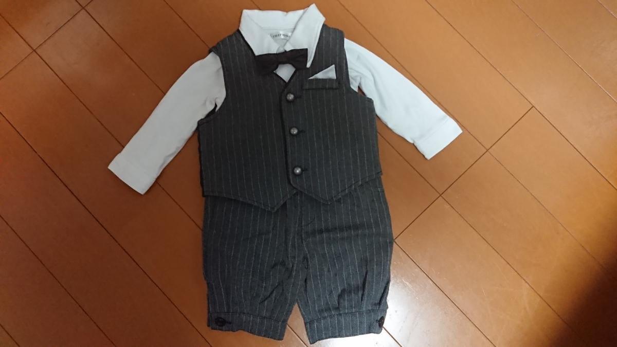 2e7b9669a4269 赤ちゃん本舗で購入ベビー男の子80タキシード蝶ネクタイセットスーツグレー の落札情報詳細