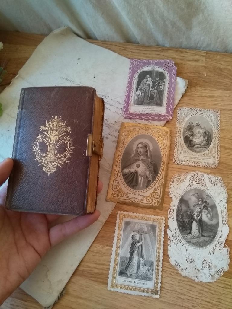 中古】フランスアンティーク 革 聖書 1876年 マリア エンジェル ...