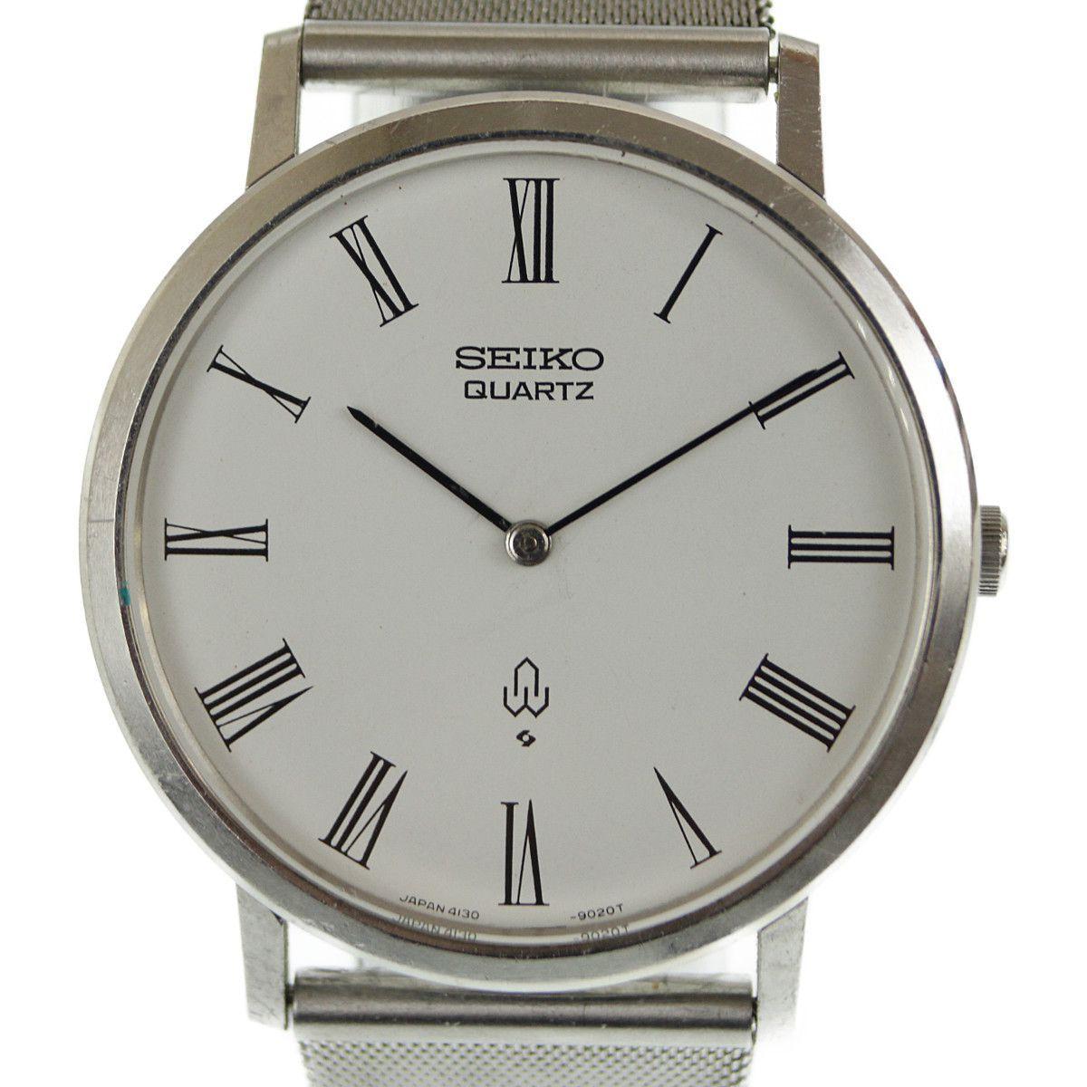 94b47e23bdee 1円~ SEIKO セイコー シャリオ メンズ腕時計 クオーツ 4130-9001 社外ベルト 237976の