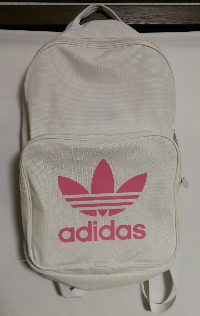 bf189e143aa0 アディダス リュック バックパック カバン ホワイト 白 カラー ピンク ロゴ 中古 スポーツ ファッション ブランド ...