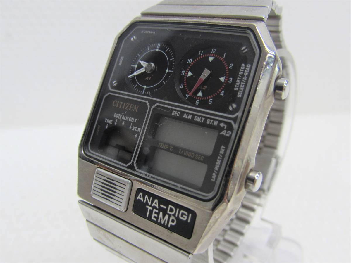 91511c6a81 1円~ CITIZEN シチズン ANA-DIGI TEMP アナデジテンプ 8989-S203556 クォーツ 腕時計 ジャンク