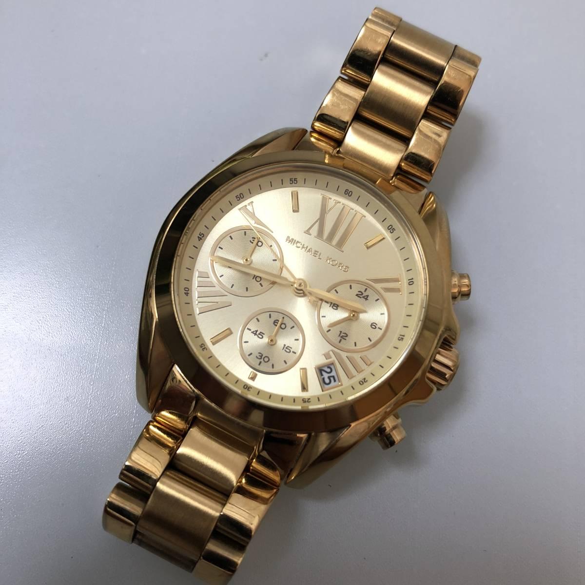 5a60b68e2699 美品☆ MICHAEL KORS マイケルコース MK-5978 レディース 腕時計 クロノグラフ ゴールド クオーツ