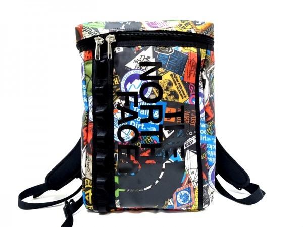 8add8c49d9a5 極美品!ノースフェイス リュックサック デイバッグ マルチカラー ロゴ PVCキャンバス ブラック