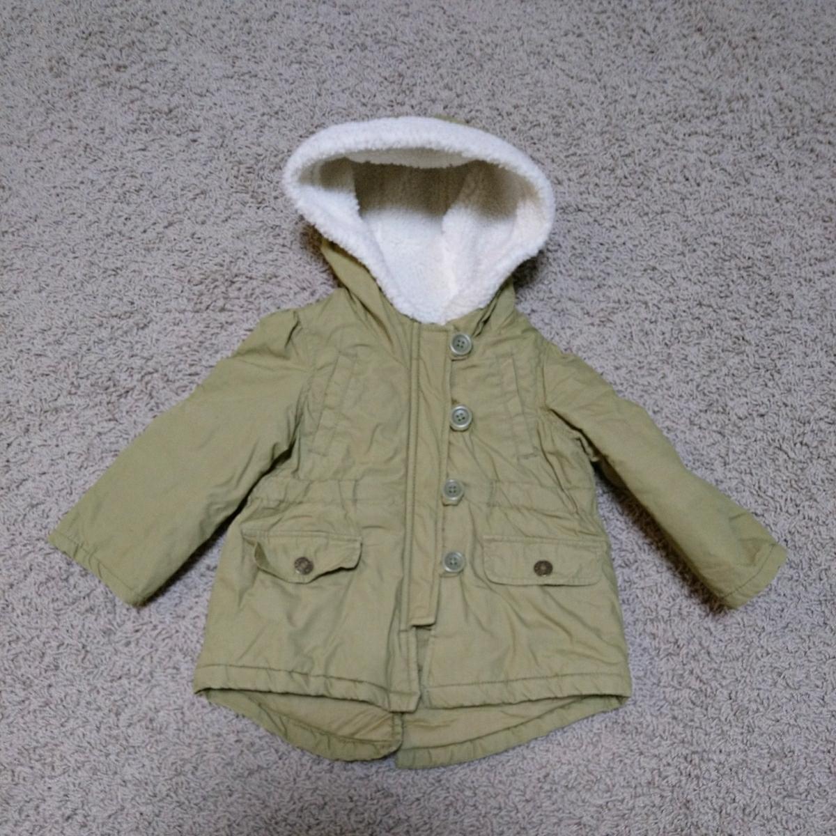 710841b30917c babyGap ベビーギャップ 中綿入りミリタリーコート ボアフード付き 80センチ 12-18m 1歳