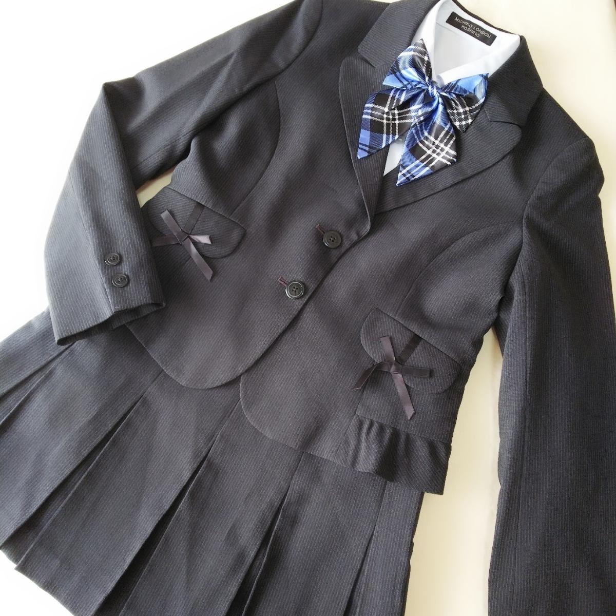 040034ccf80ca  FP59 ミチコロンドン 150 女の子 女子 フォーマル スーツ 4点 セット グレー ストライプ ジャケット スカート