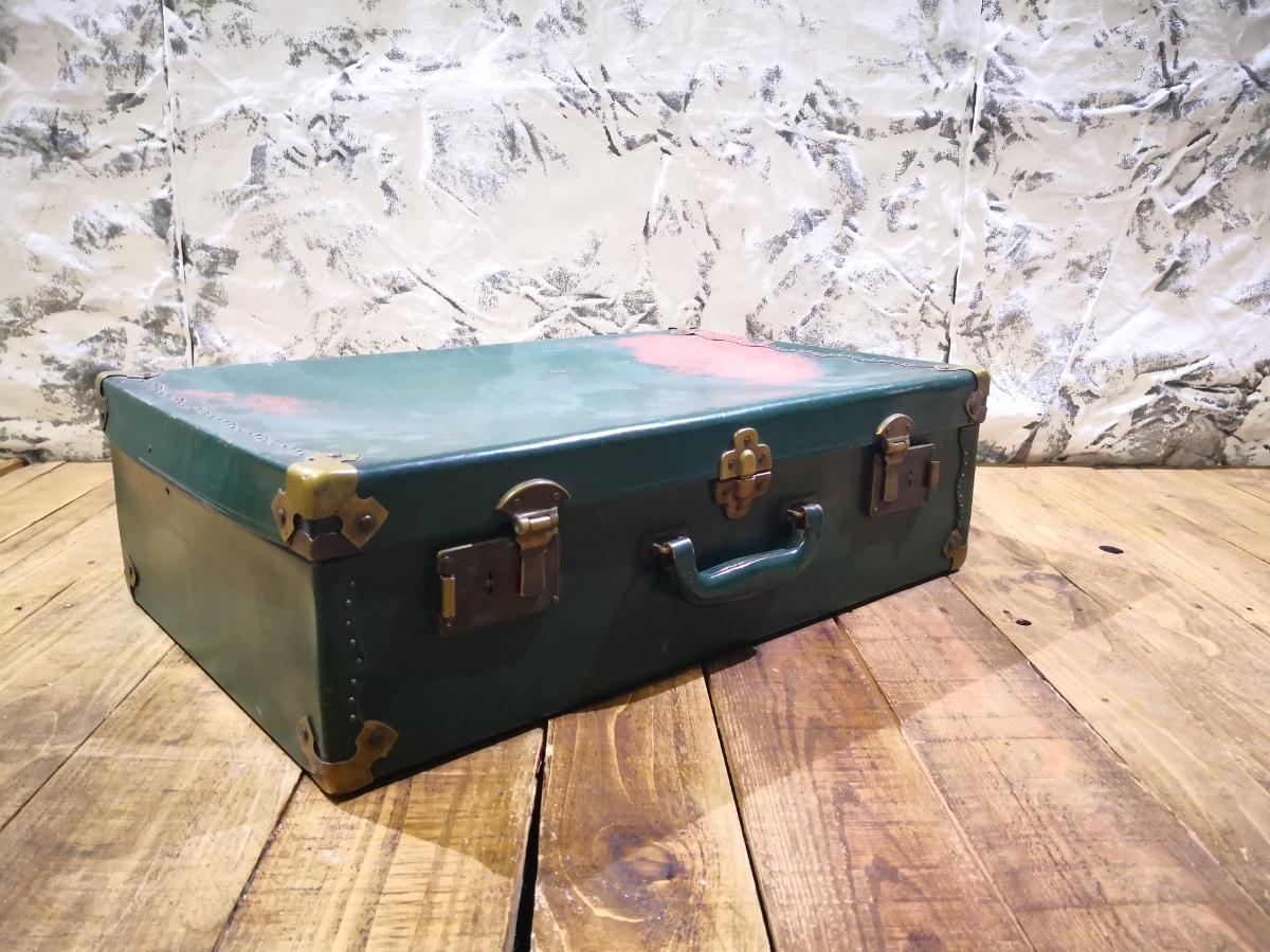 d4ef65f9b1b7 緑 グリーン アンティークトランクケース 古い鞄 ビンテージ モダン 昭和レトロ スーツケース ディスプレイ店舗什器