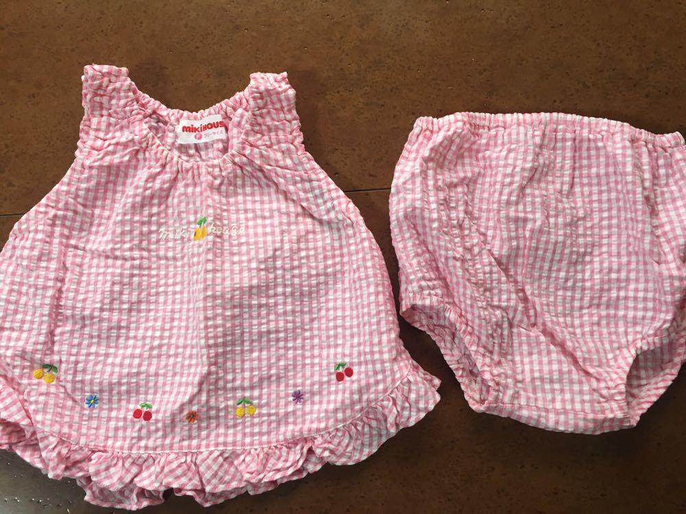 c9787afd27cc3 送料込 ミキハウス 上下セット ワンピース 70 80 女の子服 ベビー服 赤ちゃん服 フリーサイズ