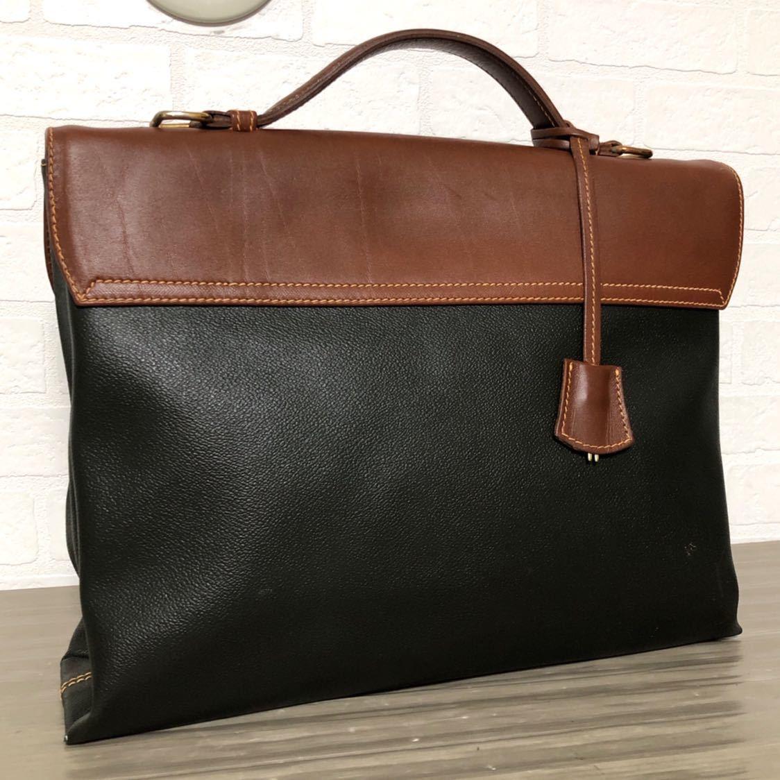 434c25d6d829 ... 373☆ TRUSSARDI トラサルディ ビジネスバッグ ブリーフケース レザー レディース カバン 鞄 モスグリーン ブラウンの ...