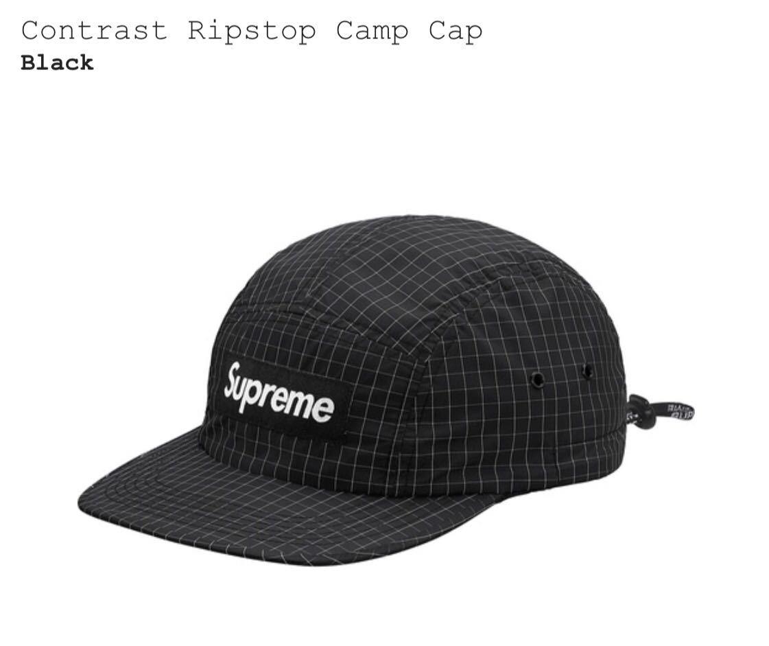 18SS Supreme Contrast Ripstop Camp Cap Black シュプリーム コントラスト リップストップ キャンプ キャップ  ブラック 黒 新品 d4768af306ad