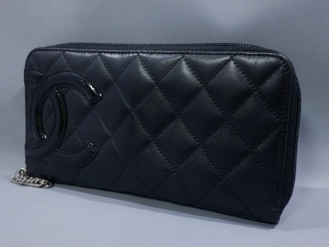 ff11a461b68f 1円 CHANEL シャネル カンボンライン ラウンドファスナー 長財布 ブラック 良品 の1番目の画像