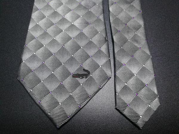 f6770092cfaf Crocodile クロコダイル ロゴ&ドット&タイルチェック柄 グレー ネクタイの1番目の画像