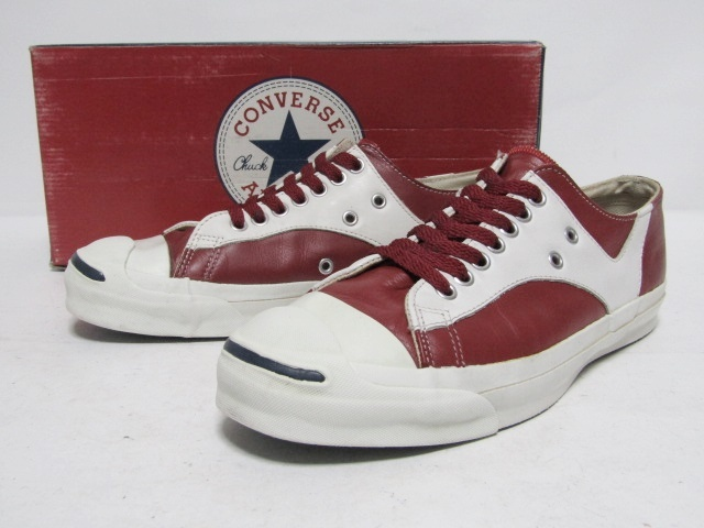 0352fcaf755a 1円スタート売切り 90s USA製 CONVERSE JACK PURCELL RALLY LEATHER WHITE RED 8.5