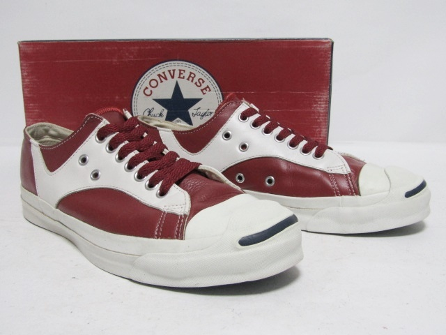 bf0e5ea857d1 ... 1円スタート売切り 90s USA製 CONVERSE JACK PURCELL RALLY LEATHER WHITE RED 8.5 ...