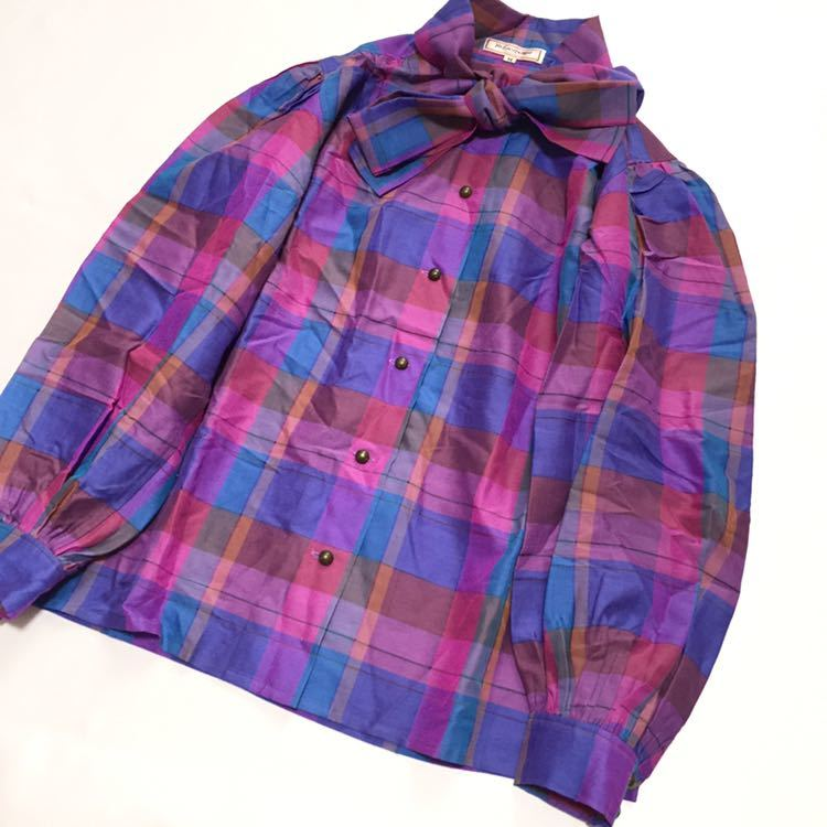 8bc5e72b69d9 【格安】YSL YVES SAINT LAURENT イヴ・サンローラン ドレスシャツ チェック柄 レディース