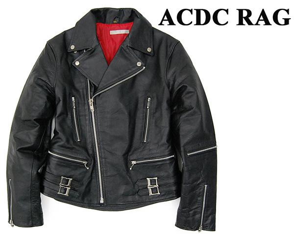 4e0c402e2b75 美品 エーシーディーシー ACDC 牛革 UKライトニング型 中綿入り レザーダブルライダースジャケット/