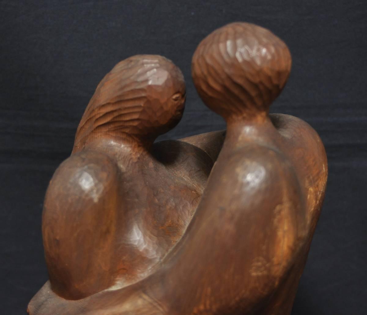 木彫 男女 木像 作家 Y.OhTA 1967年 昭和42年 置物 オブジェ 人形 の ...
