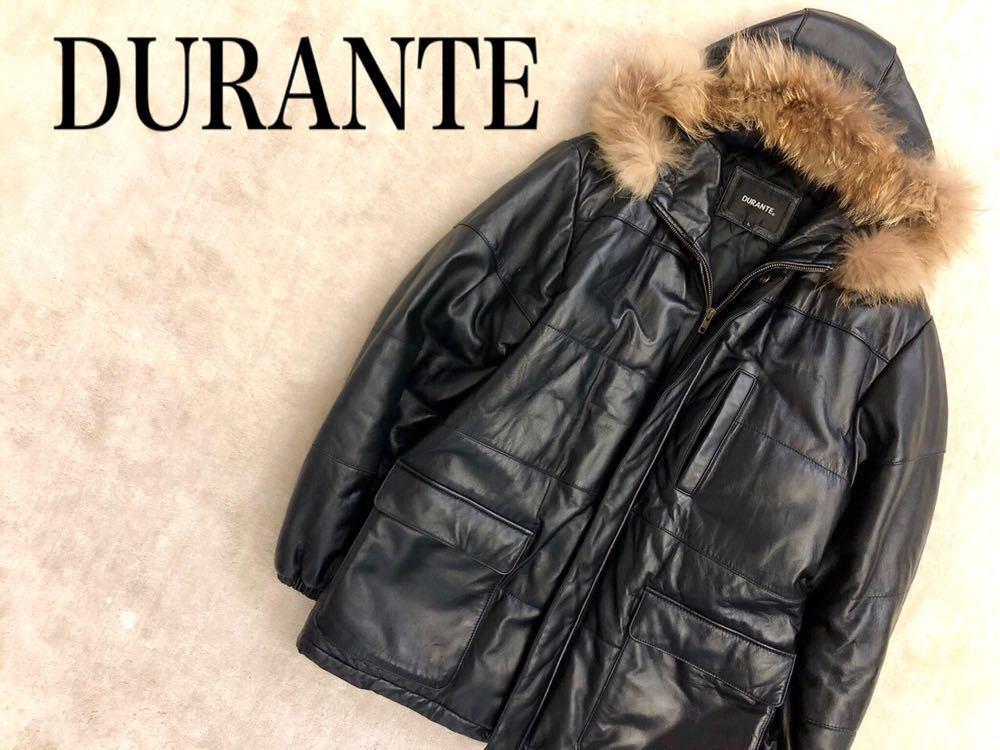 b3a986c41439 DURANTE デュラント 羊革 ラムレザー リアルファー コート(L)ブラック・黒 中綿入り