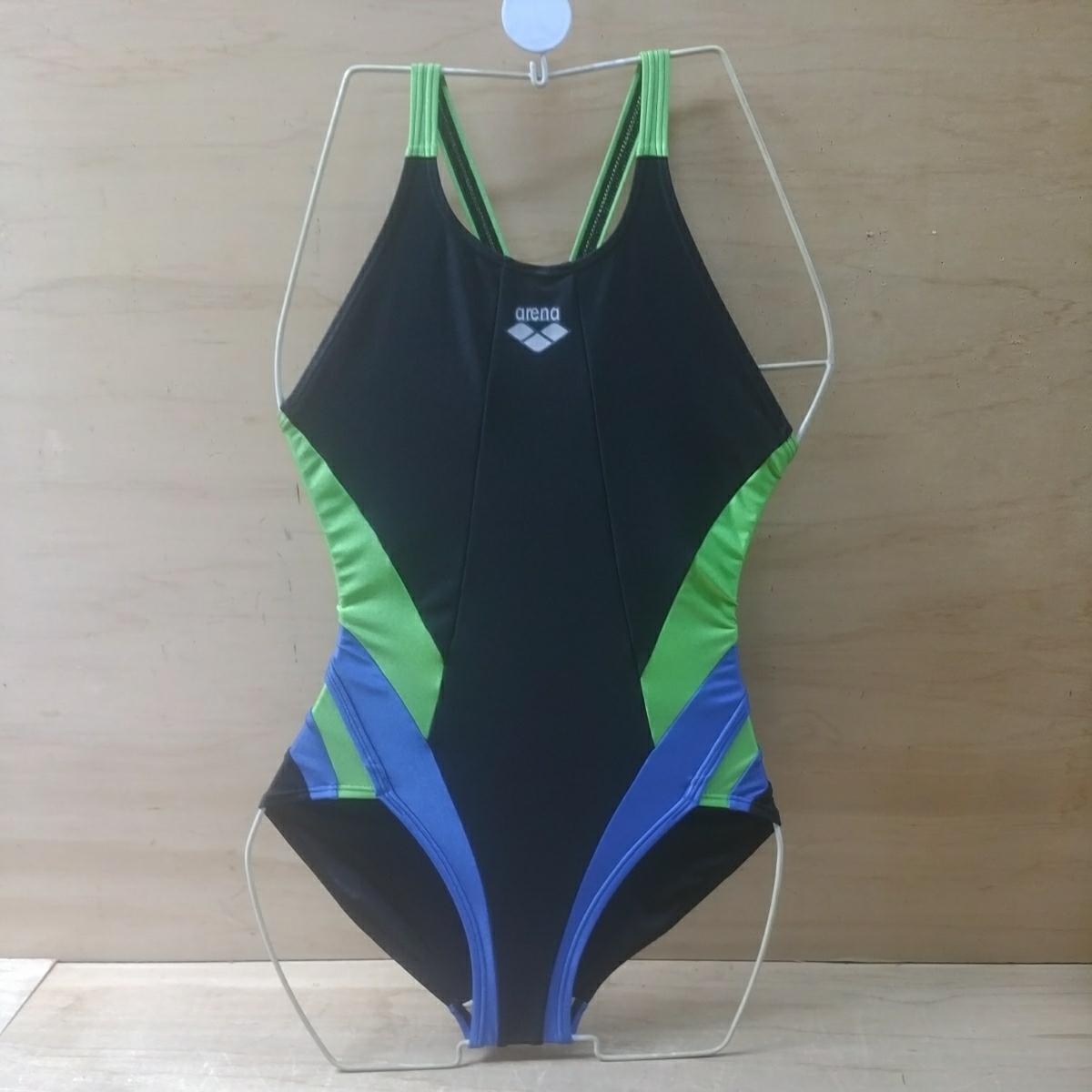 df2c5bb6e4b4 L5029【スイムウェア6】アリーナ レディース M ワンピース 競泳水着 黒×ライム arena