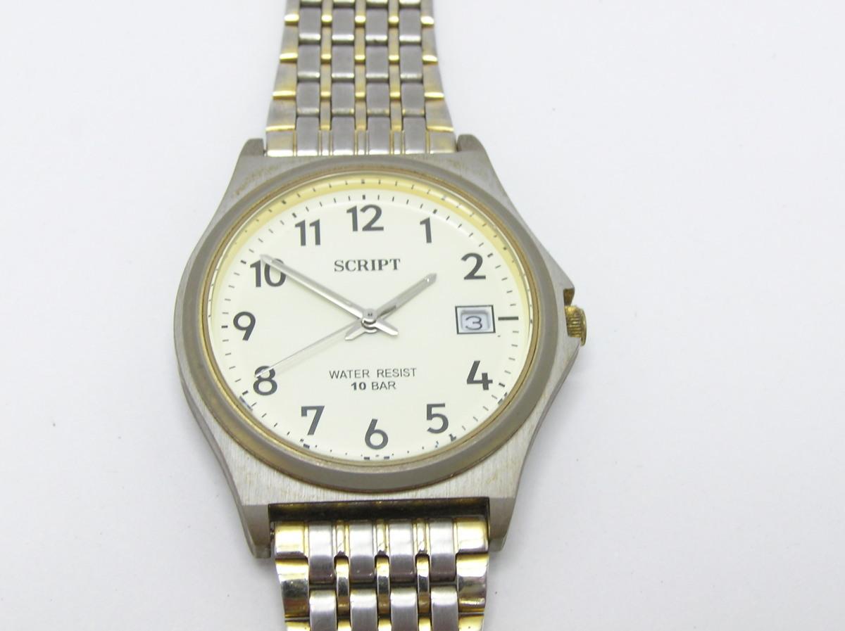 096749ff89 ハローカメラ☆ 2376 SCRIPT J-AXIS 10BAR 3針 カレンダー メンズ クォーツ 腕時計