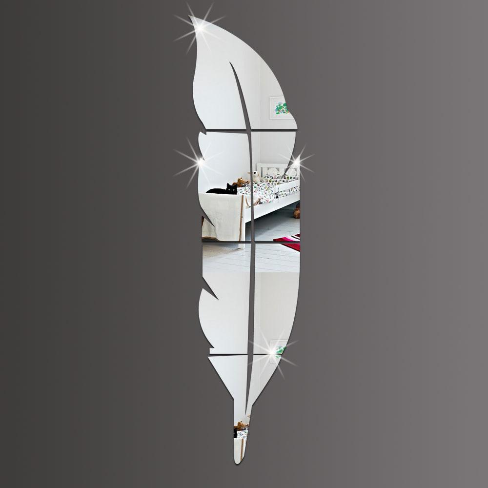 新品 新品処分 ウォールステッカー ミラー フェザー型 銀色の鏡