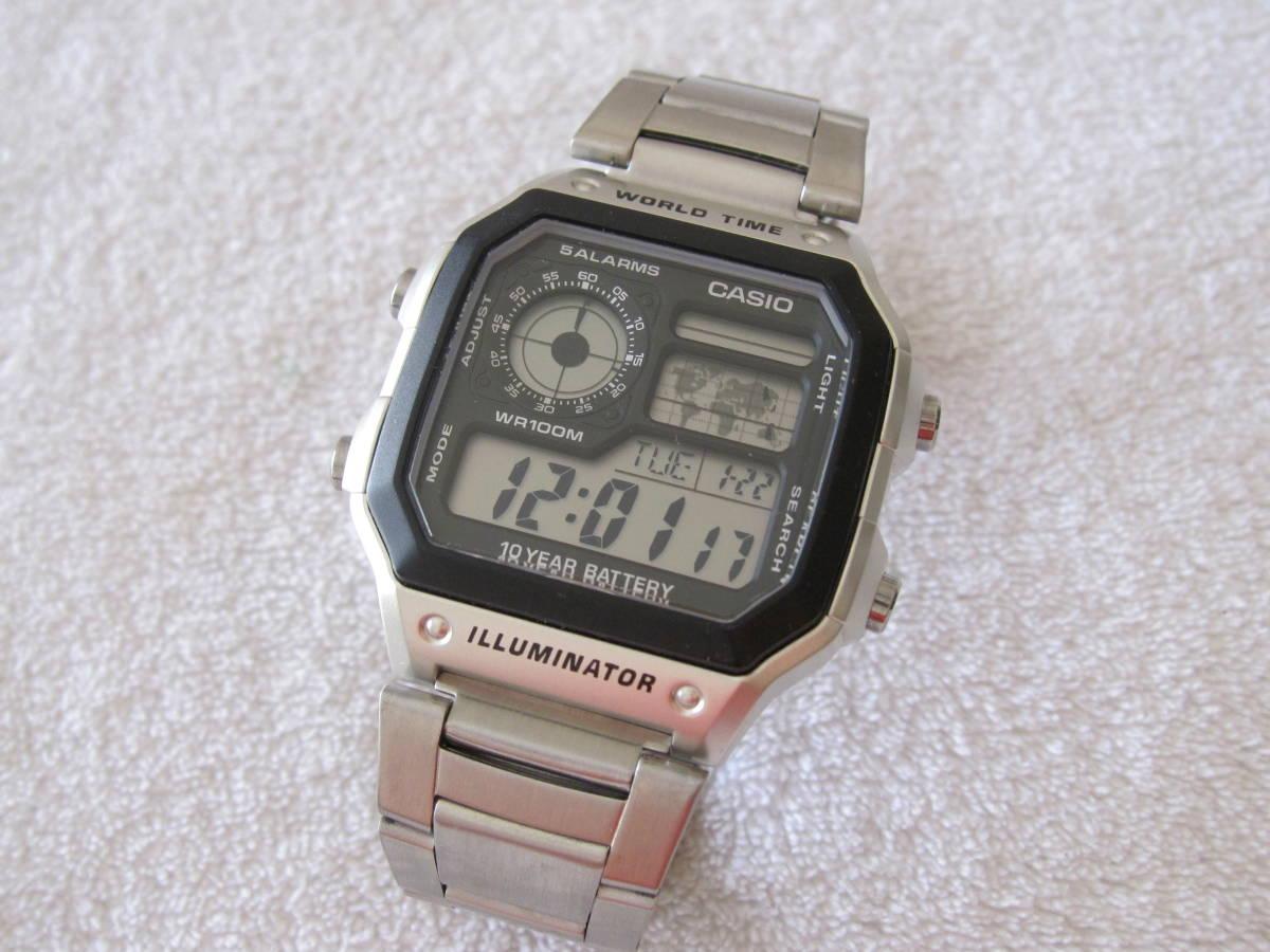 186a7b978a CASIO デジタル 腕時計 AE-1200WH ワールドタイム メタル ベルト 稼動 中古 送185 チープカシオ