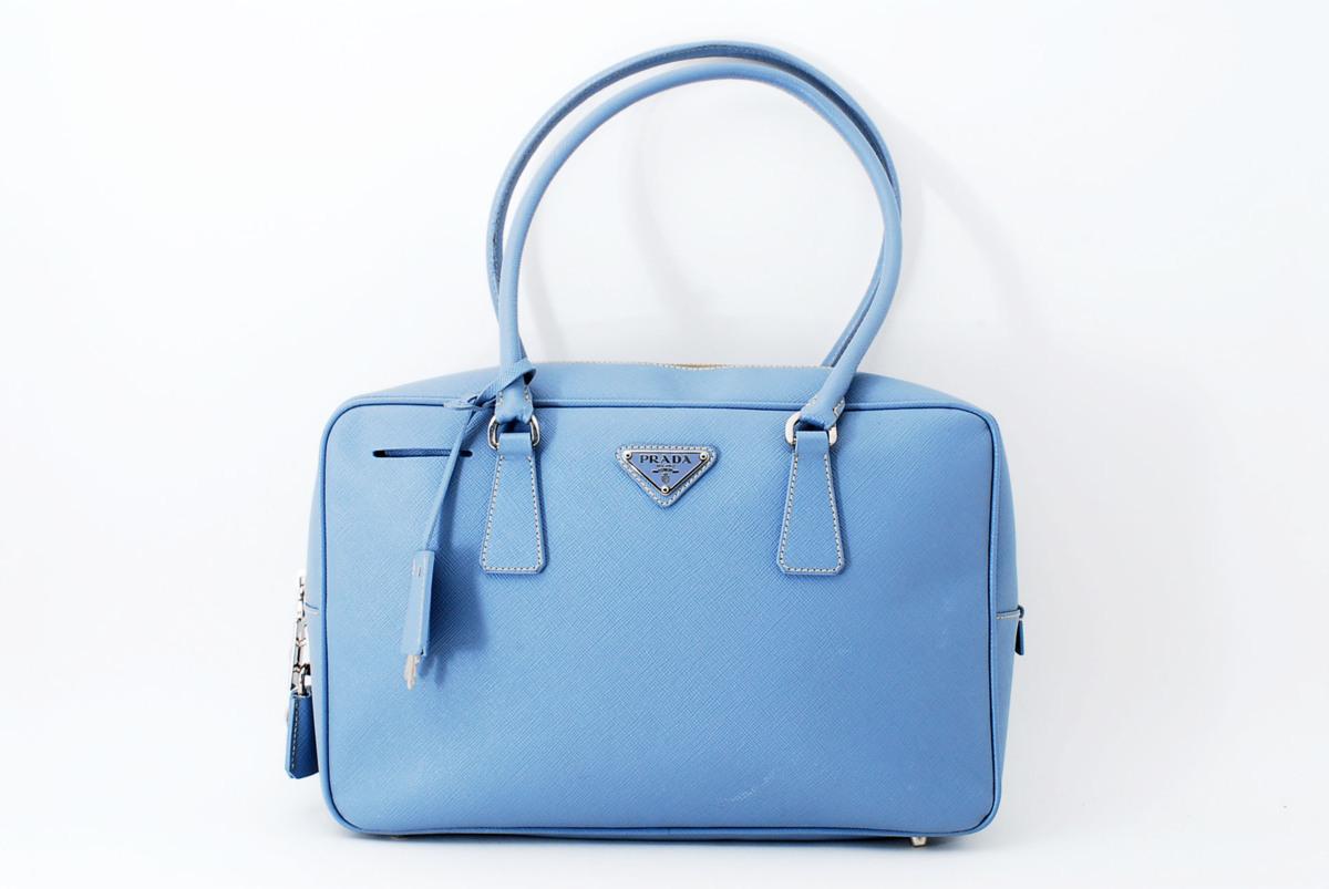 c5a58239c34f 極美品 プラダ サフィアーノ ハンドバッグ トートバッグ ブルー PRADAの1番目の画像