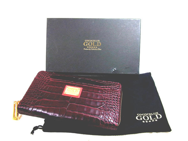 3a39b1ac810a COCOCELUX GOLD ◇ ココセリュックス クロコダイル型押し 牛革 長財布 未使用品 元箱