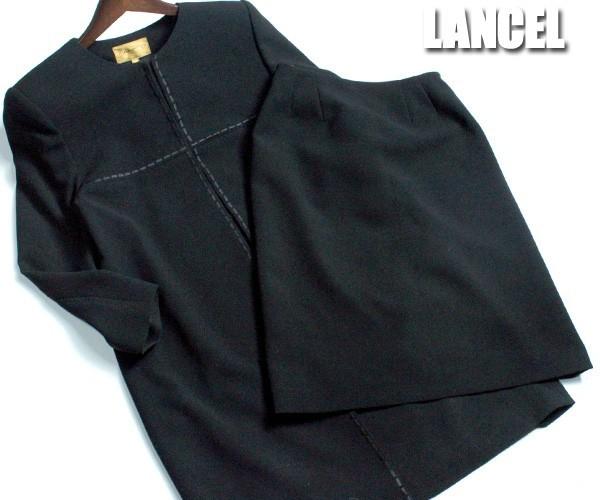 ee9b02a888b92f ランセル LANCEL ブラックフォーマルスカートスーツ セレモニー ノーカラージャケット+台形スカート サイズ9AR 日本