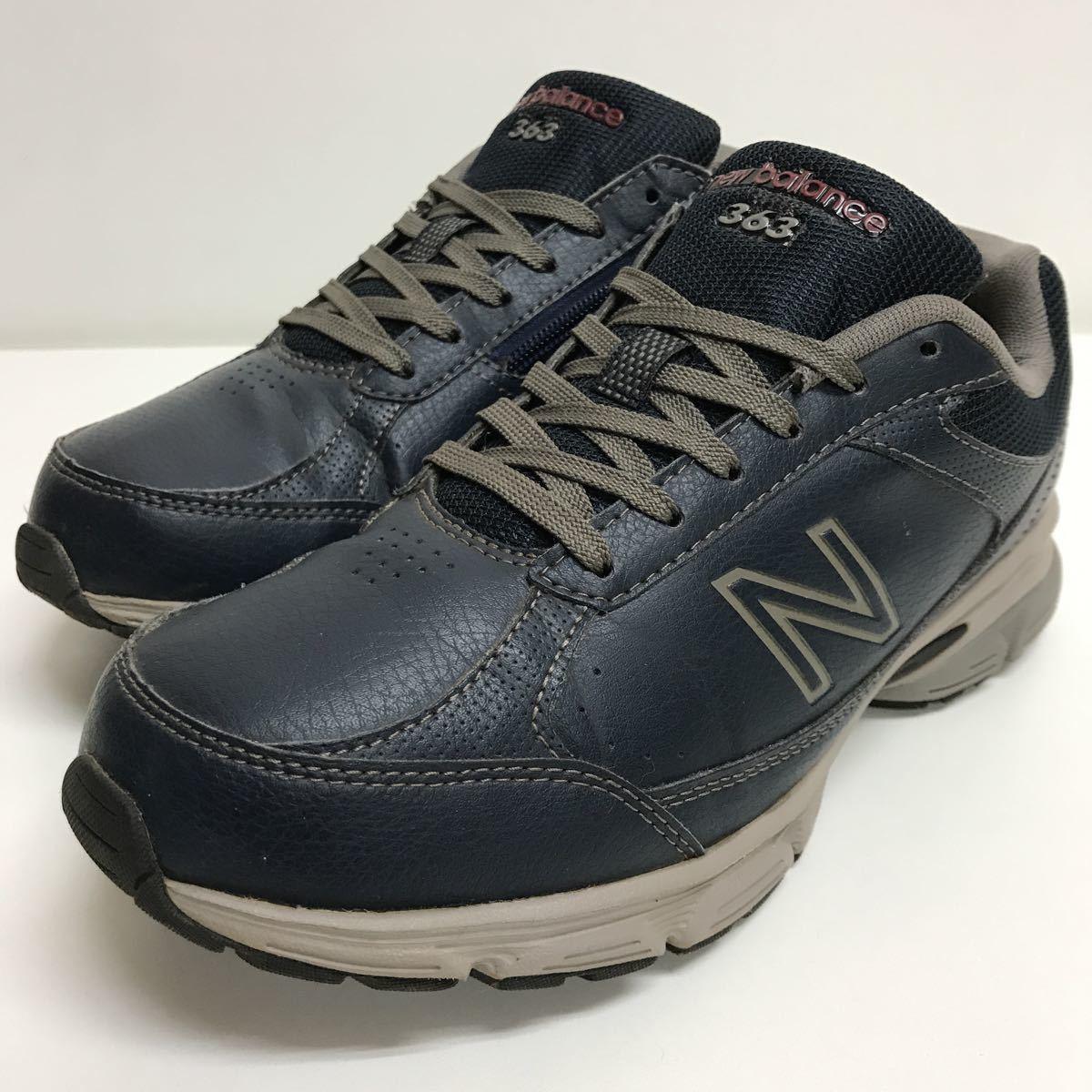 8bb89b58862c44 NB NEW BALANCE ニューバランス MW363NV2ウォーキングシューズ 靴 スニーカー 25.5cm 4E ネイビー サイドジップ 良好