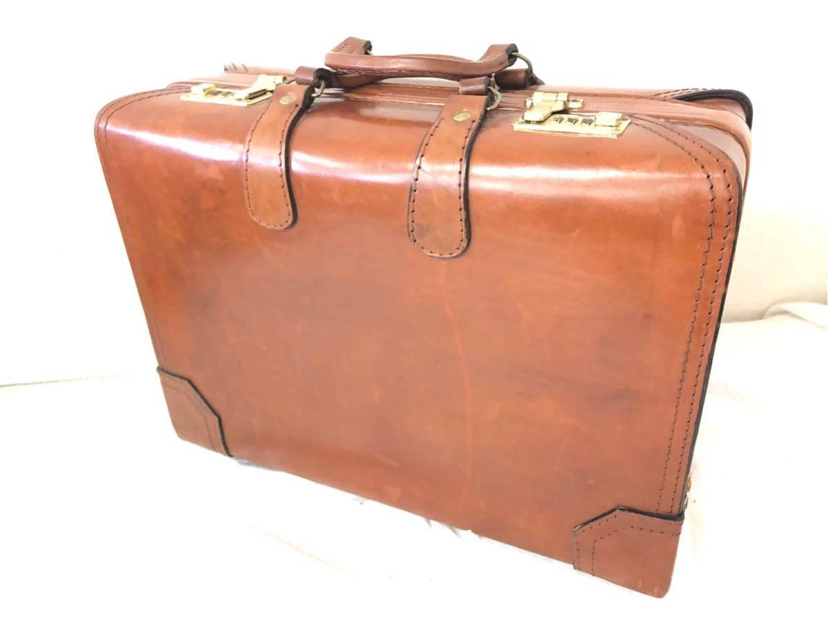 b13b86477e4e レザー トランクケース 旅行カバン 鞄 鍵付き 茶系 ブラウン系 アタッシュケース メンズ ハード 出張