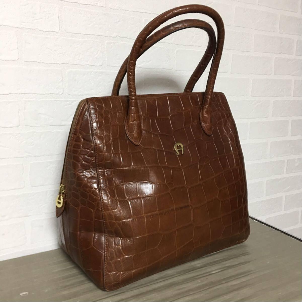 4b0488167ddc 261□ AIGNER アイグナー ハンドバッグ レディース 茶 ブラウン オシャレ 鞄 かばん の1番目の画像