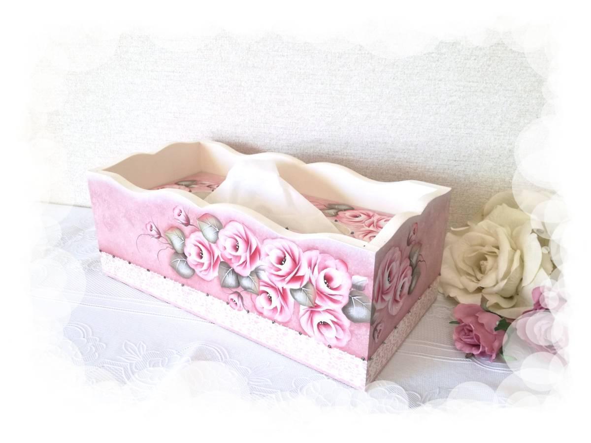 新品薔薇のフリーティッシュboxトールペイントハンドメイドバラ