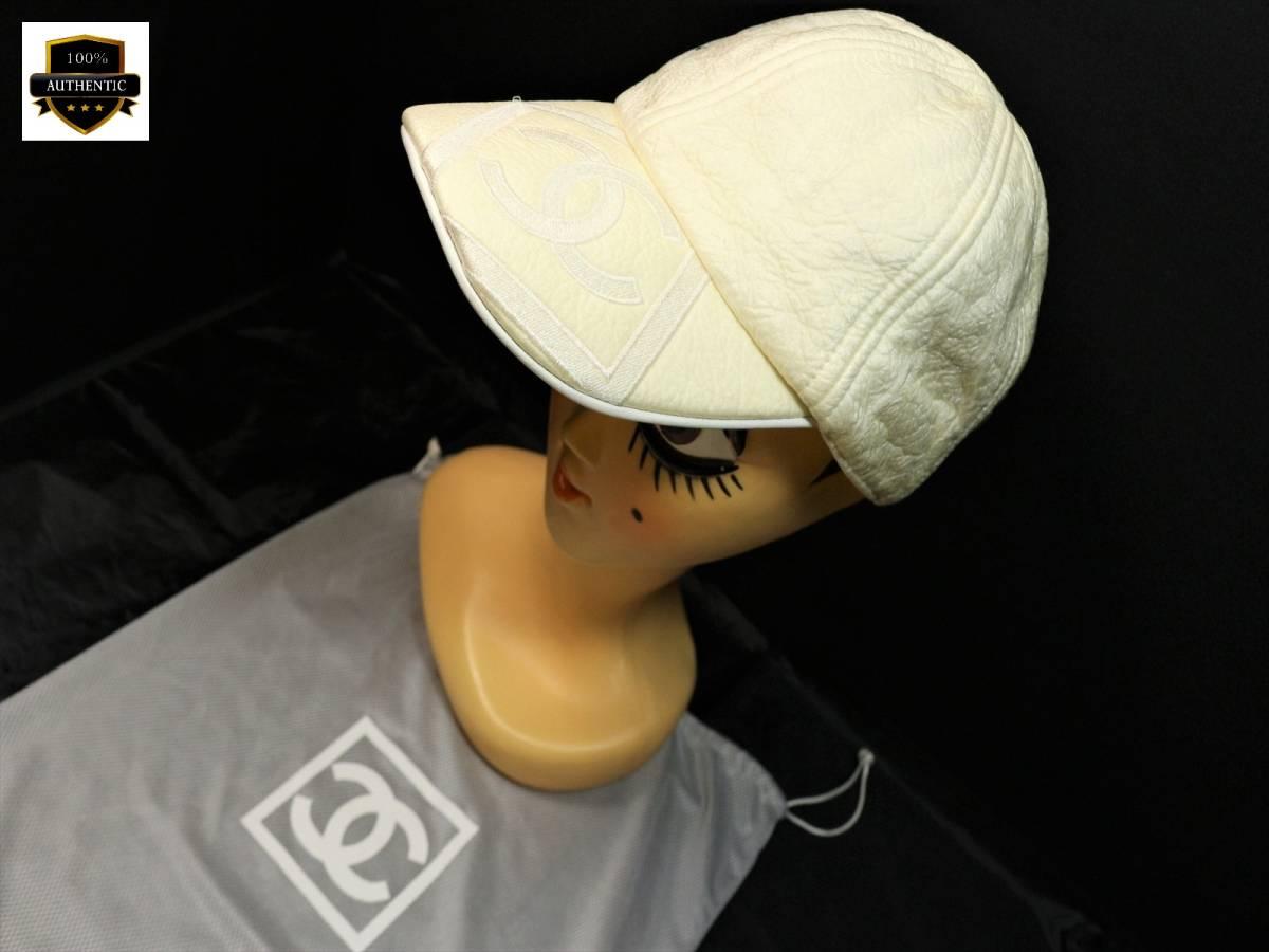 eea9f3292661 本物保証|シャネル スポーツライン キャップ 帽子 デカ ココマーク CC ボックス ロゴ アイボリー コットン