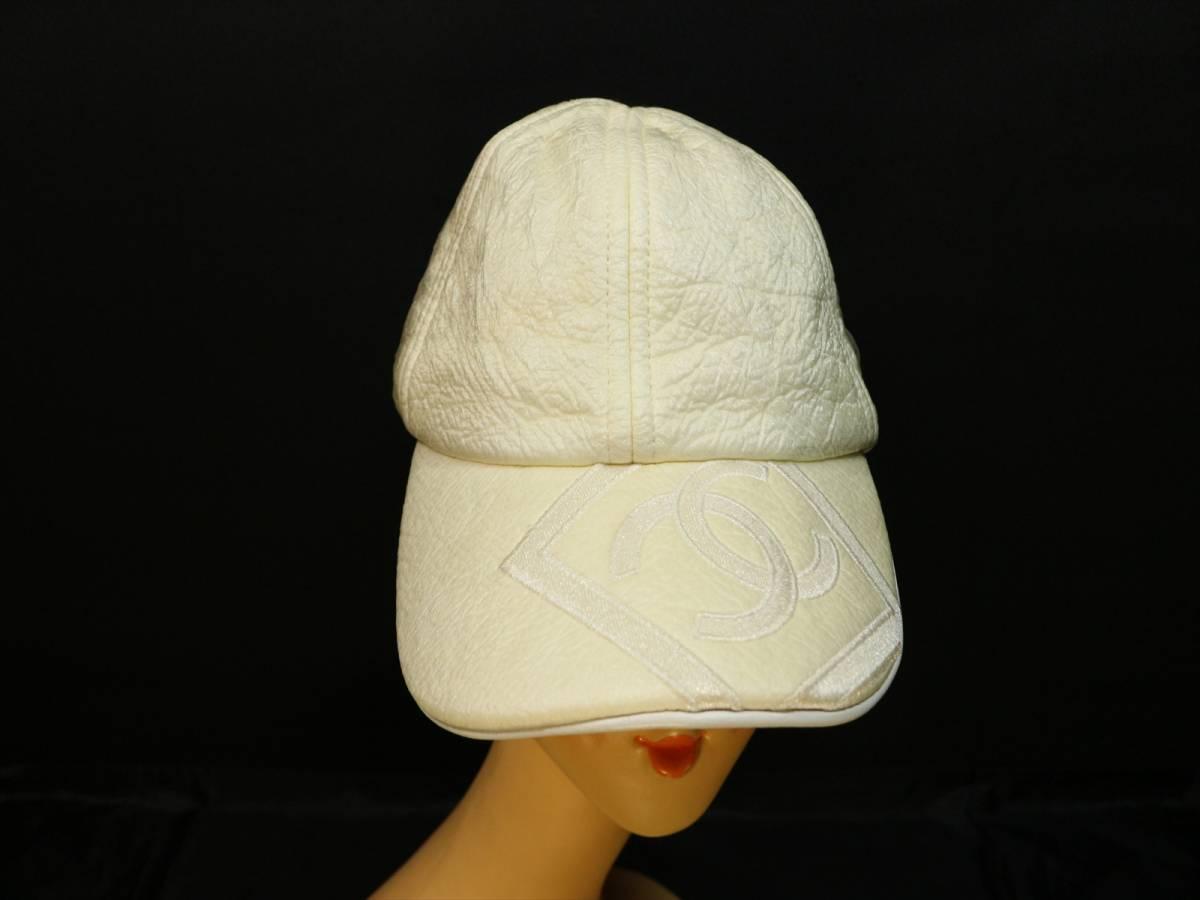 eb686445df19 ... 本物保証 シャネル スポーツライン キャップ 帽子 デカ ココマーク CC ボックス ロゴ アイボリー コットン ...
