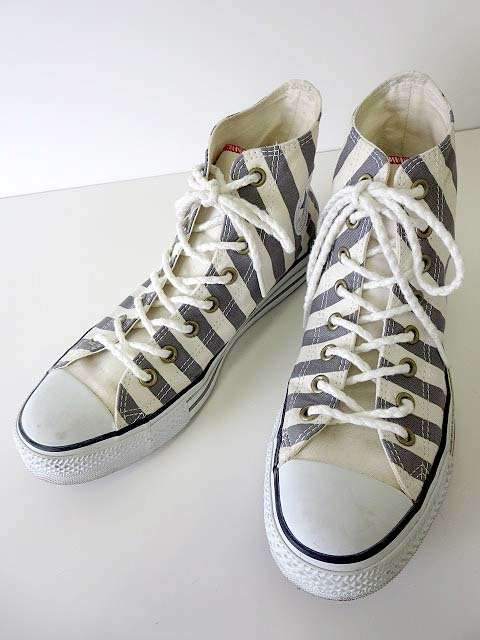 df3e973a12d948 コンバース CONVERSE オールスター ALL STAR スニーカー シューズ 靴 くつ ハイカット 27.0 白 ホワイト グレー ストライプ  メンズ