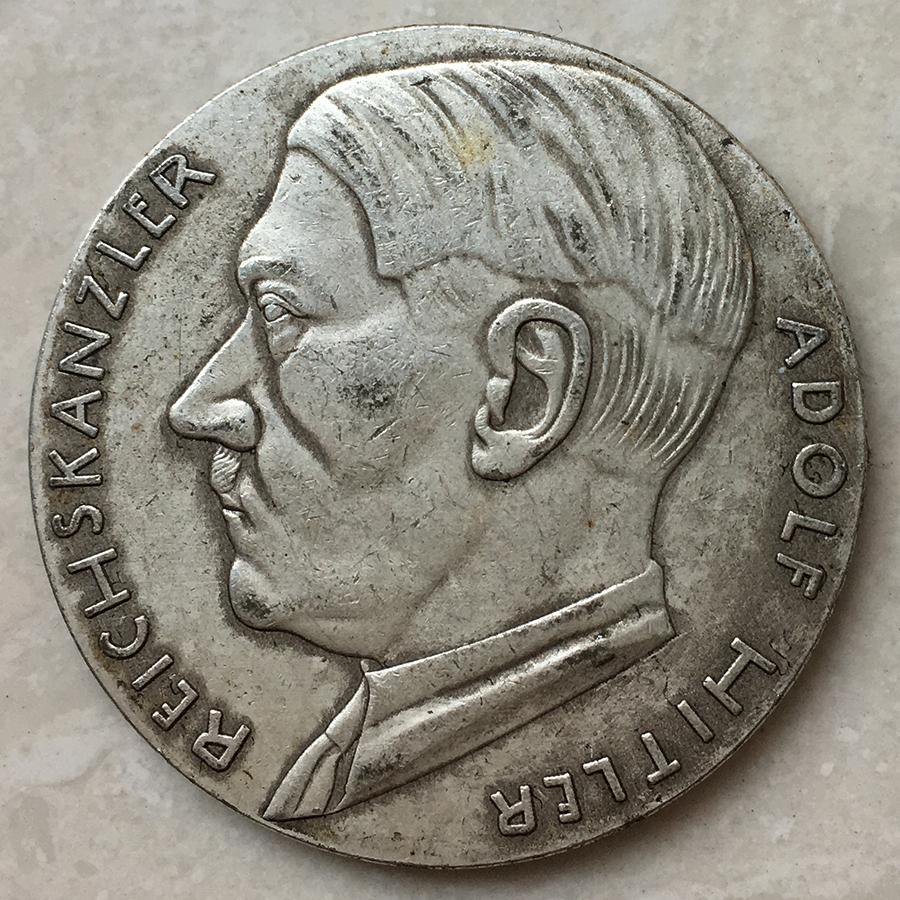 中古】ドイツ 大型銀貨 1938年 ヒトラー 貿易銀 銀餅 貨幣 36㎜ 18.3g ...