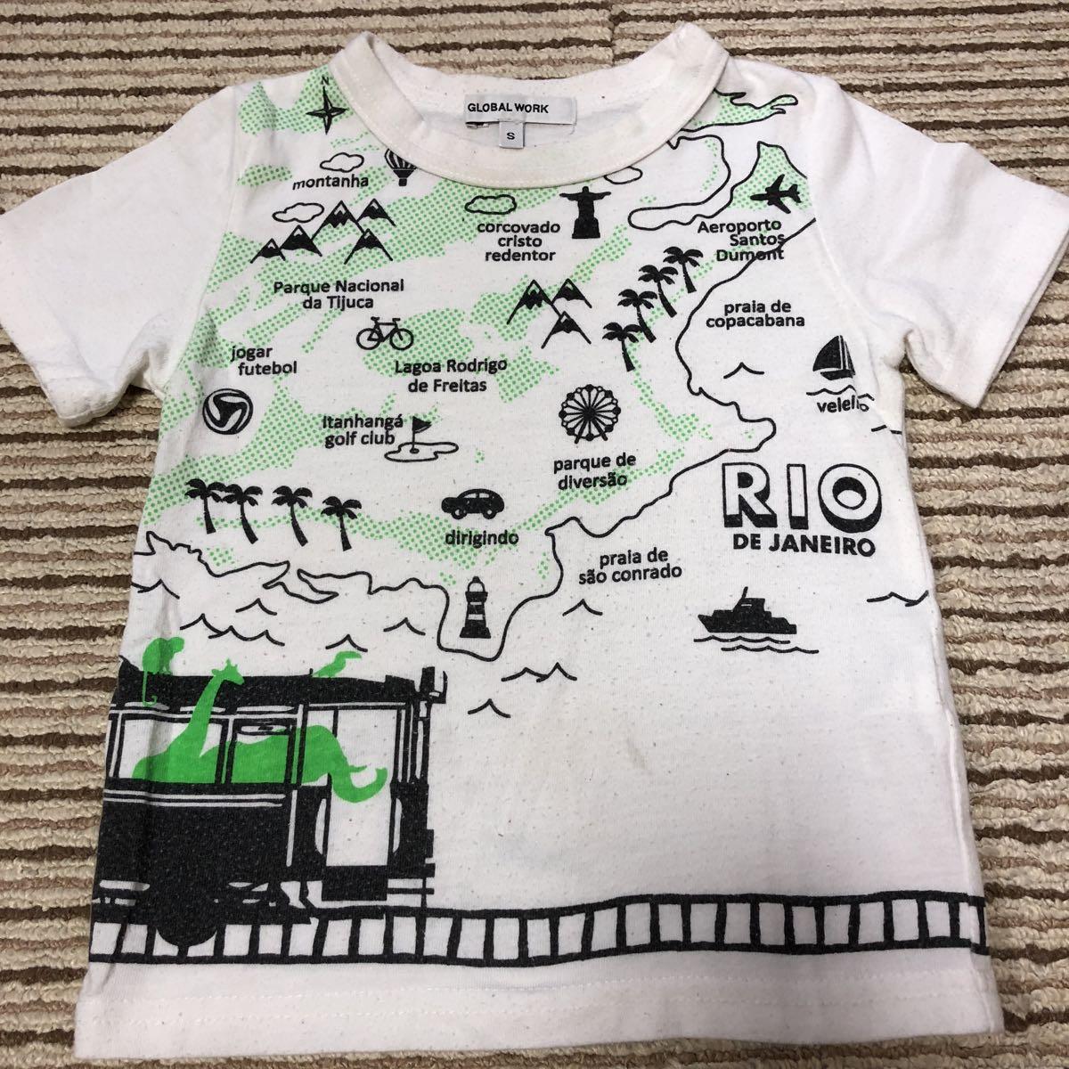 64d632502042f グローバルワークキッズ globalwork kids おしゃれな半袖Tシャツ S 90-95 地図 電車 列車